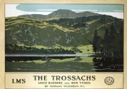 The Trossachs, Loch Katrine and Ben Venue. LMS Vintage Travel Poster by Norman Wilkinson